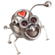 Metal bug with a smile and heart in the body